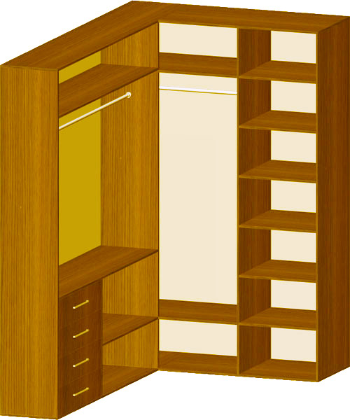Схемы наполнения шкафов-купе.