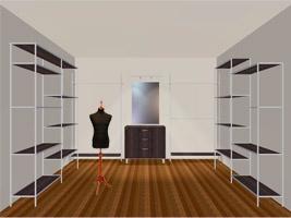Гардеробная комната на основе стеллажной системы Aristo.
