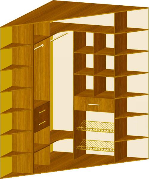Схемы наполнения угловых шкафов-купе.
